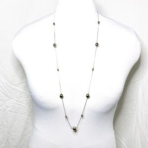 ***Silver Bead and Chain Long Necklace